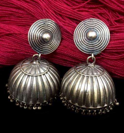 Looped Silver Replica Jhumka