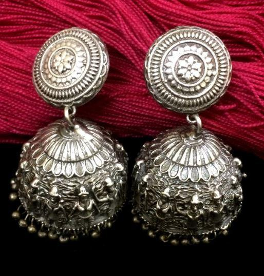 Intricately crafted Silver Replica Jhumka