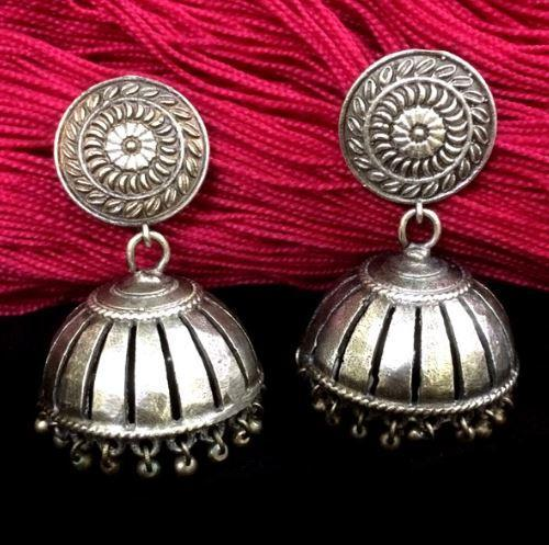 Grilled Silver Replica Jhumka