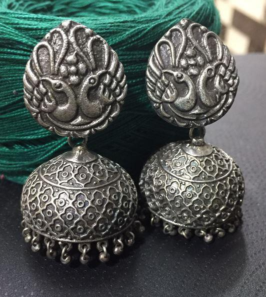Love peacock Silver Replica Jhumka