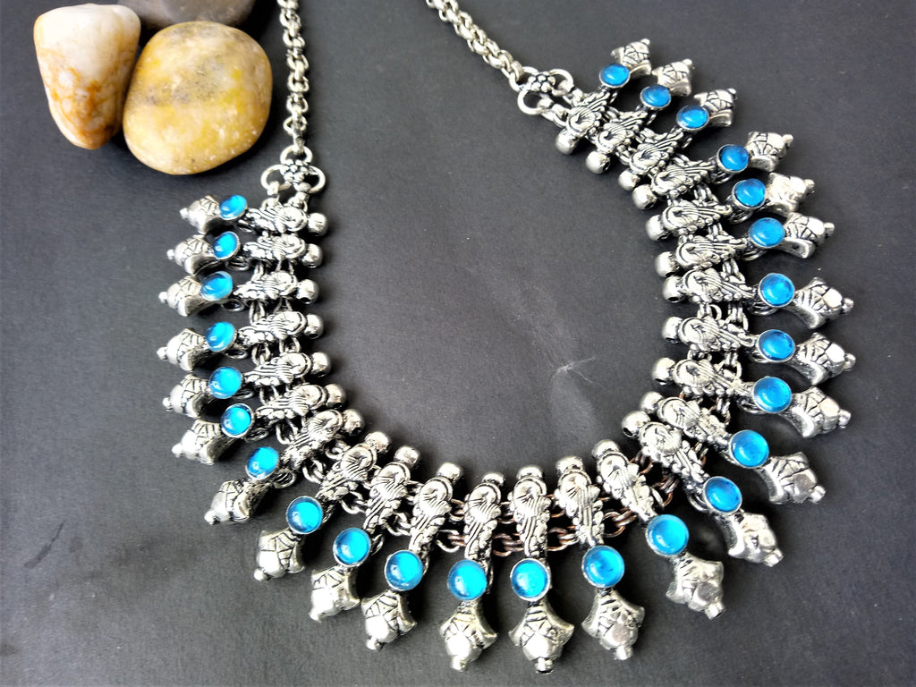 Aqua Blue German Silver Stone Necklace