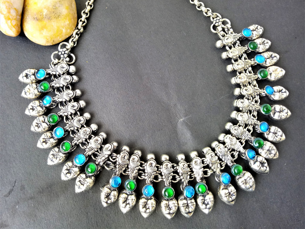 Blue & Green German Silver Stone Necklace