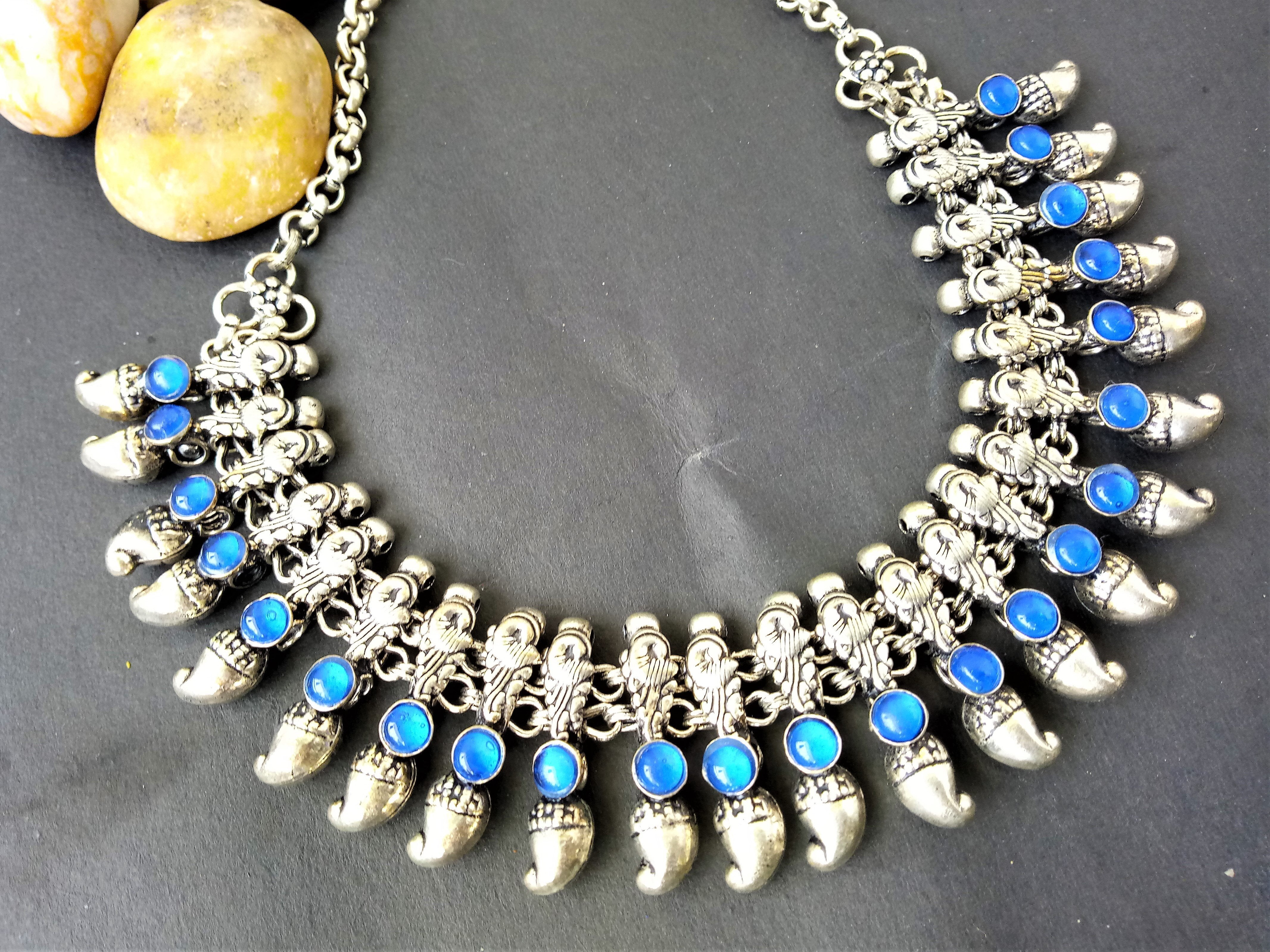 Blue German Silver Stone Necklace