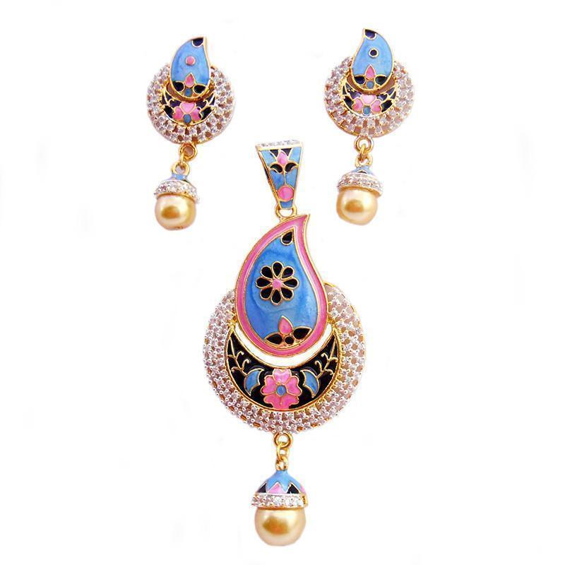 Designer Ad  And Meenakari Pendant Set