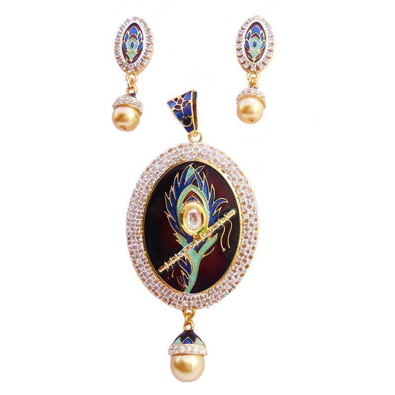 Scintillating Ad And Meenakari Pendant Set