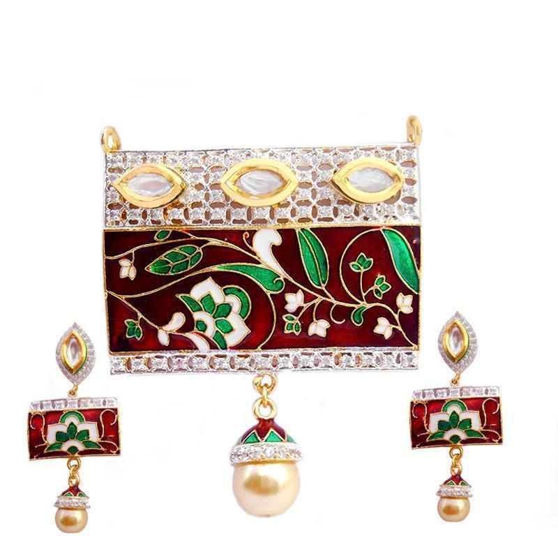 High Fashion Ad And Meenakari Pendant Set
