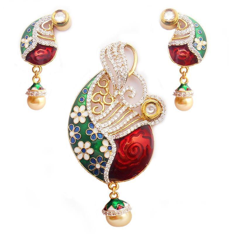 Fashionable Ad And Meenakari Pendant Set