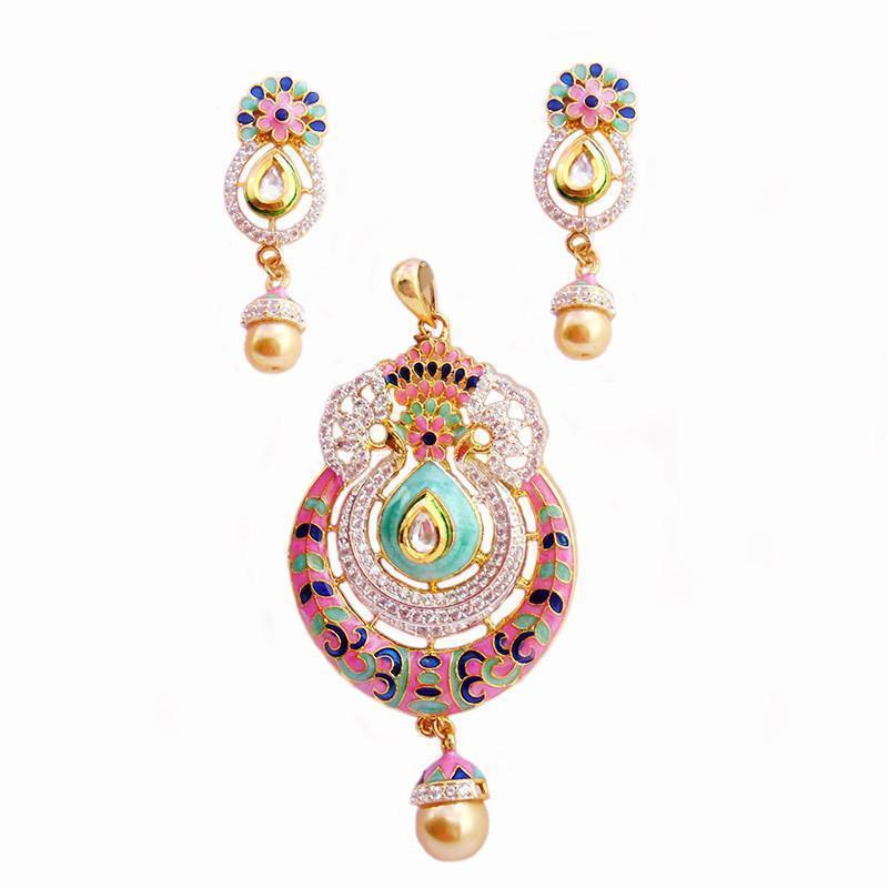 Designer Rich Look Ad And Meenakari Pendant Set