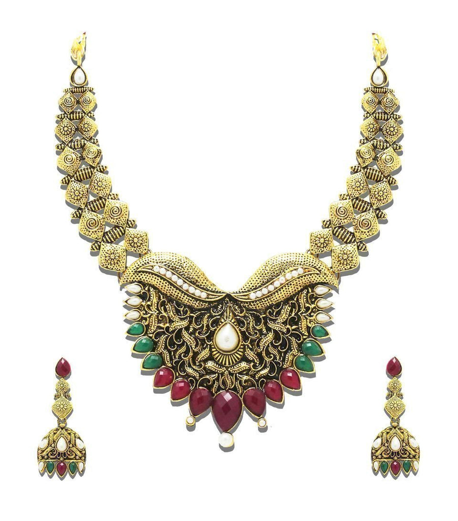Zaveri Pearls Classic Antique Look Necklace Set