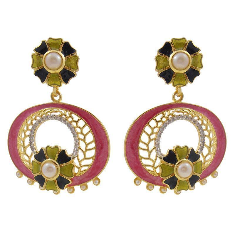 Designer Meenakari & American Diamond Earrings