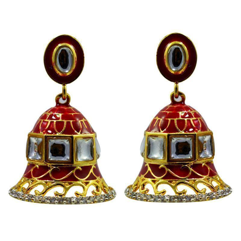 American Diamond Studded Meenakari Jhumki Set