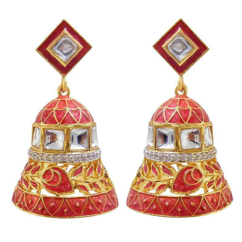 Adorable American Diamond Studded Meenakari Earrings