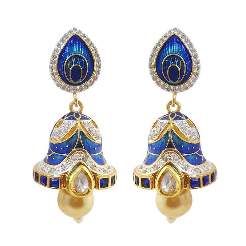 Glittering American Diamond Studded Meenakari Earrings