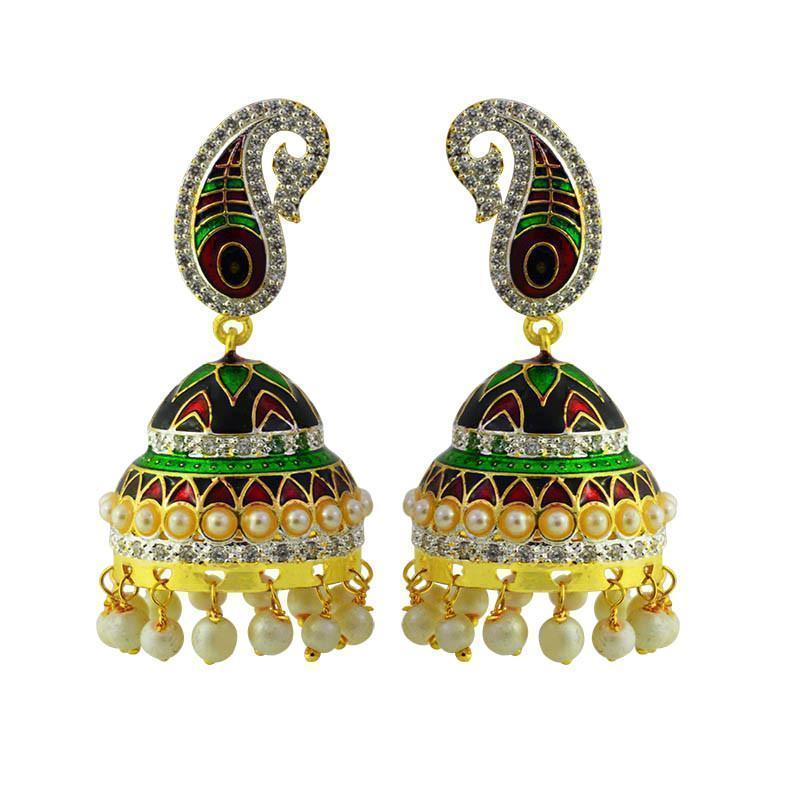 Elegant Meenakari & American Diamond Earring Set