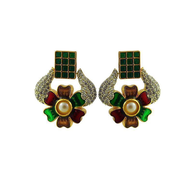 Trendy Meenakari- American Diamond Earring Set