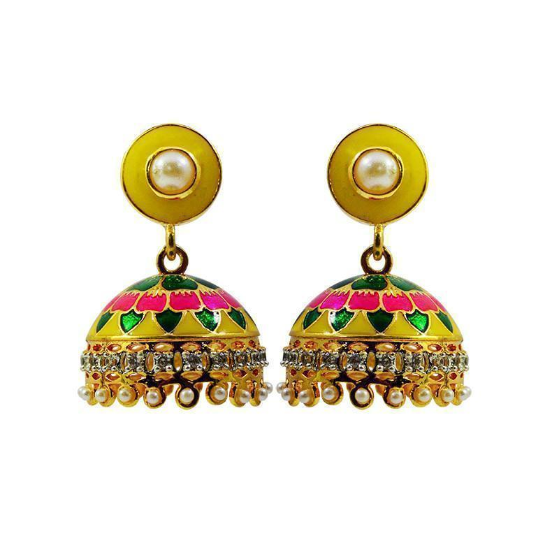 Elegant American Diamond Studded Meenakari Earrings