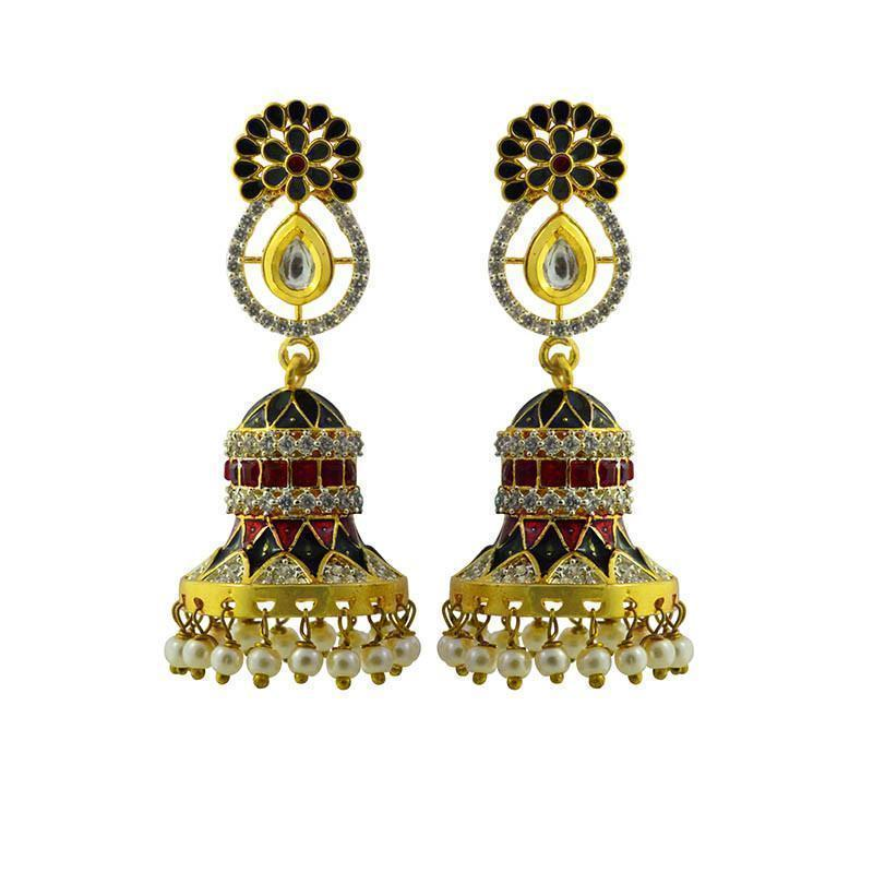 Shimmering American Diamond Studded Meenakari Earrings
