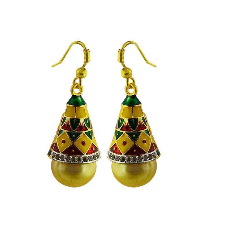 Entracing American Diamond Studed Meenakari Jhumki Earring