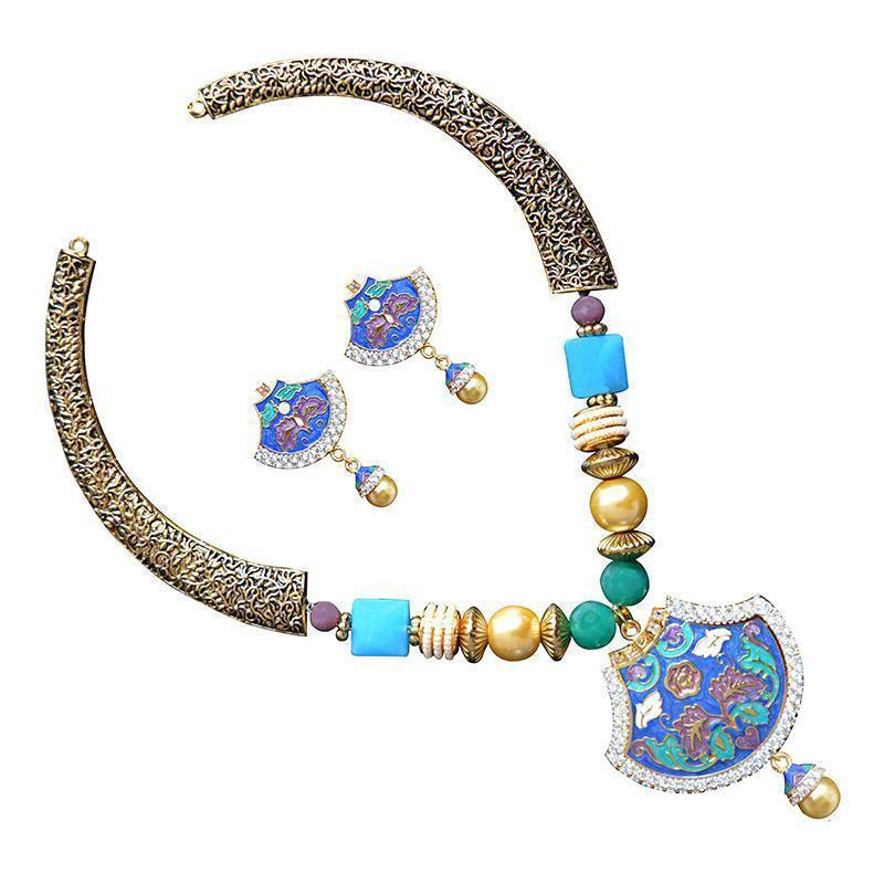 Designer American Diamond Studded Meenakari Necklace Set