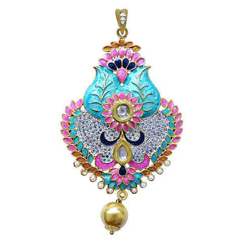 Meenakari American Diamond Studed Pendant Set