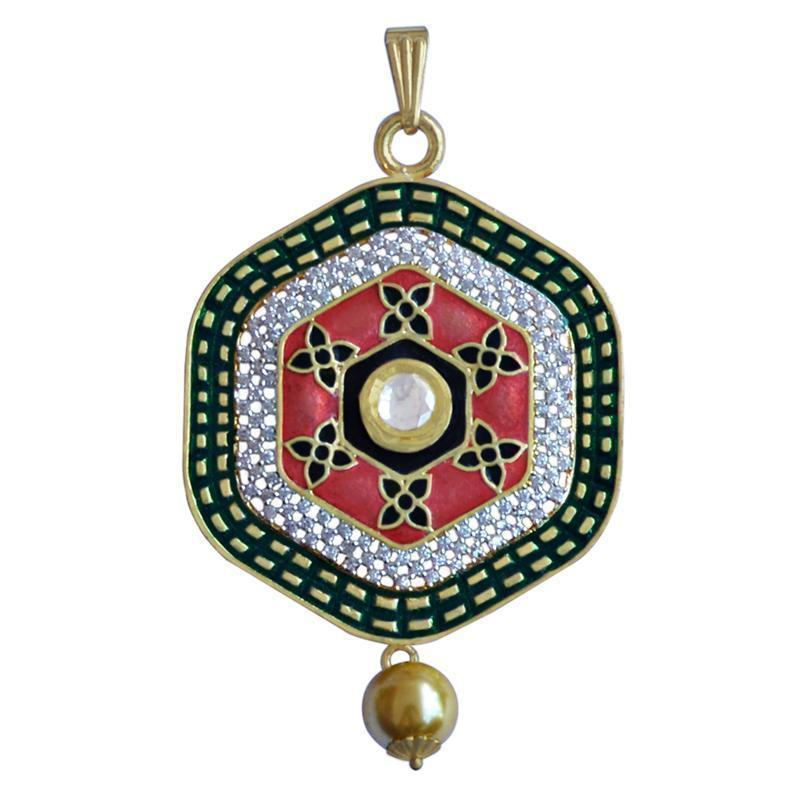 Kundan Meenakari American Diamond Gold Plated Brass Pendant Set