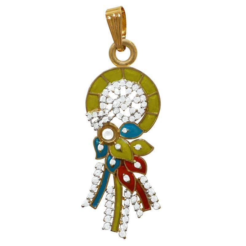 Kundan Meenakari Work American Diamond Studed Brass Gold Plated Pendant Set