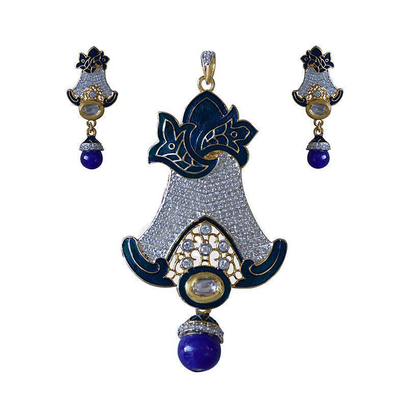 Antique Finish Oxidized Leaf Shape American Diamond Studed Meenakari Gold Plated Brass Pendant Set For Women