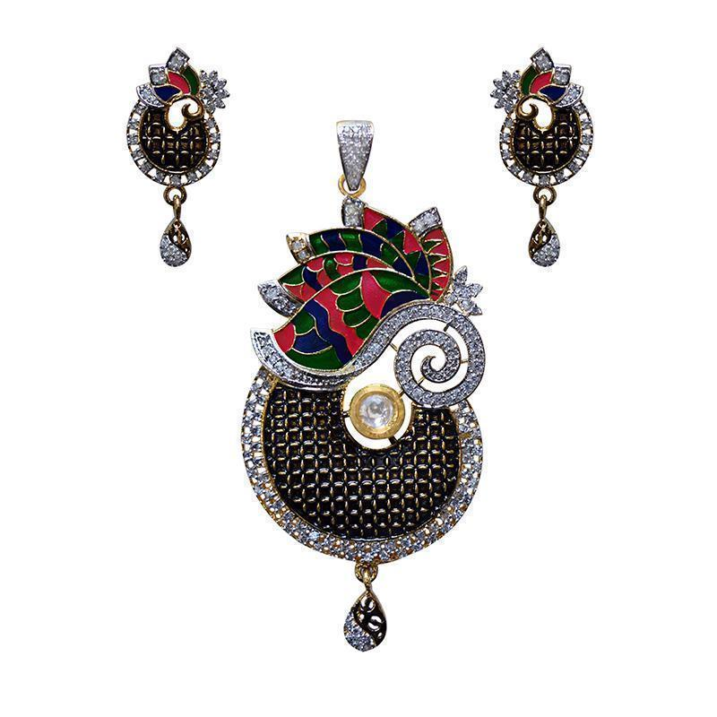 Antique Finish Oxidized American Diamond Studed Meenakari Mango Flower Shape Gold Plated Brass Pendant Set For Women