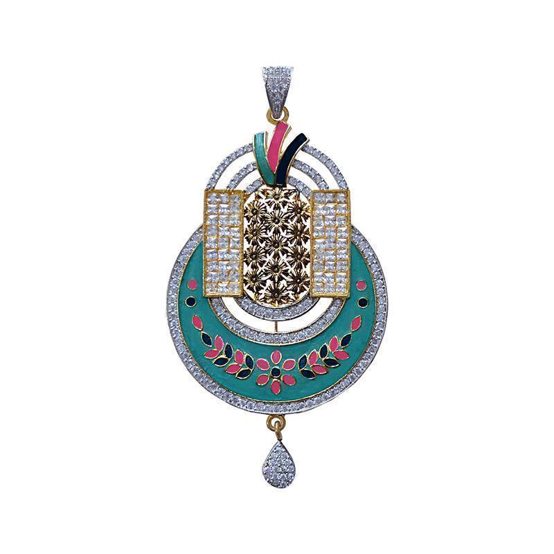 Antique Finish Oxidized Peacock Shape American Diamond Studed Meenakari Gold Plated Brass Pendant Set For Women