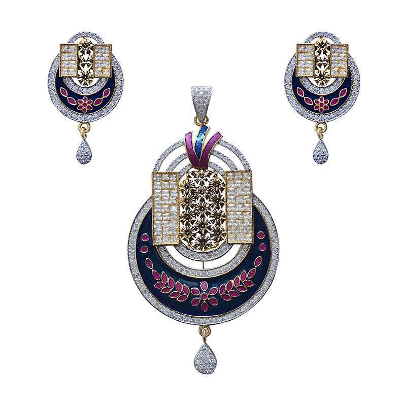 Antique Finish Oxidized Meenakari Gold Plated Pendant Set