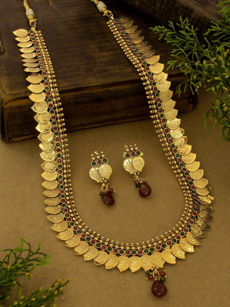 Antique Copper Temple Jewelry Coin Necklace Set For Wedding