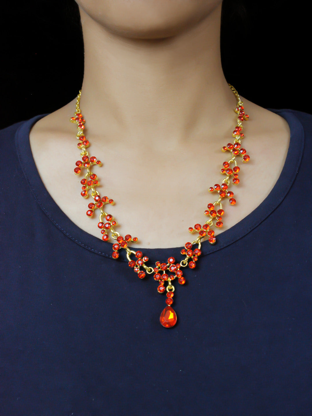 Orange Color Rhinestone Crystal Necklace Set For Party Wear
