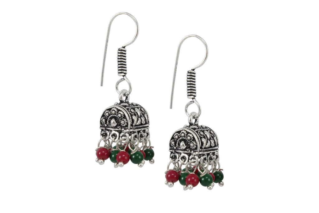 Oxidized Silver Small Jhumkas With Red And Green Droppings