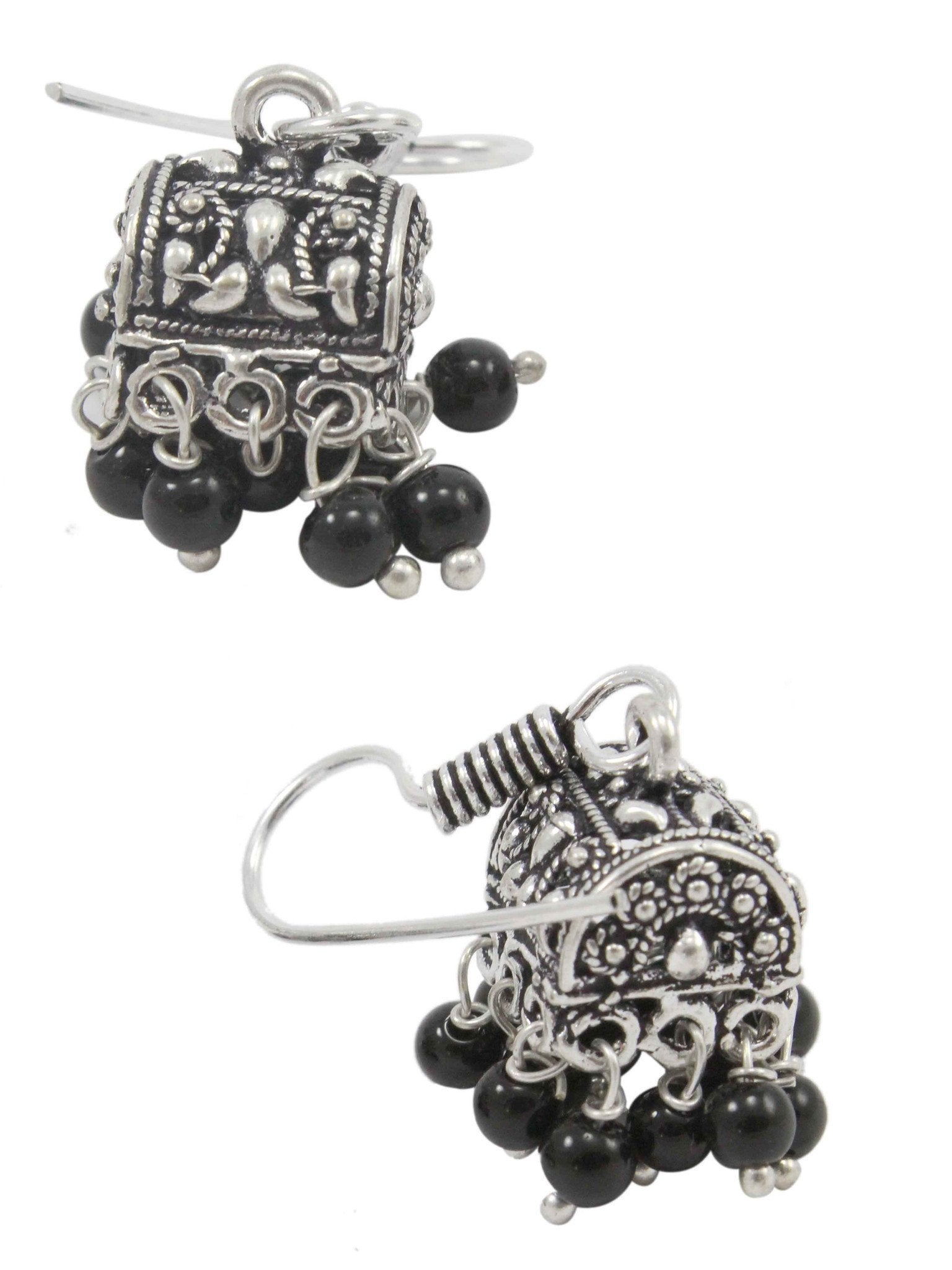 Oxidized Silver Small Jhumkas With Black Droppings