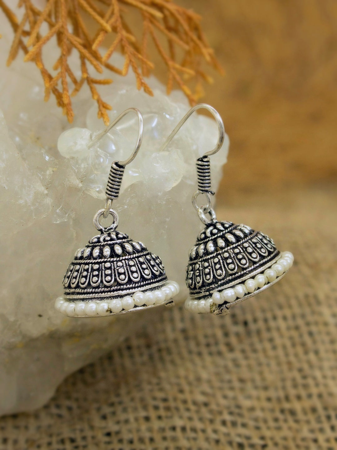 Oxidized German Silver Jhumkas With White Droppings