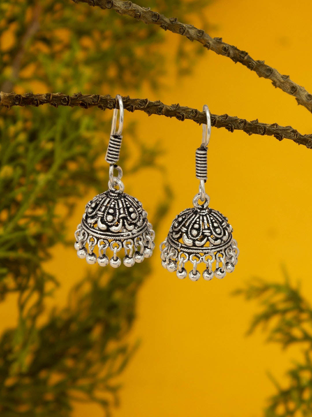 Oxidized German Silver Jhumkas With Droppings