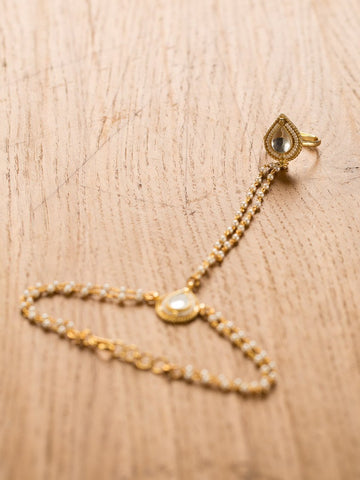 Gold Plated Kundan Pearl Hathful