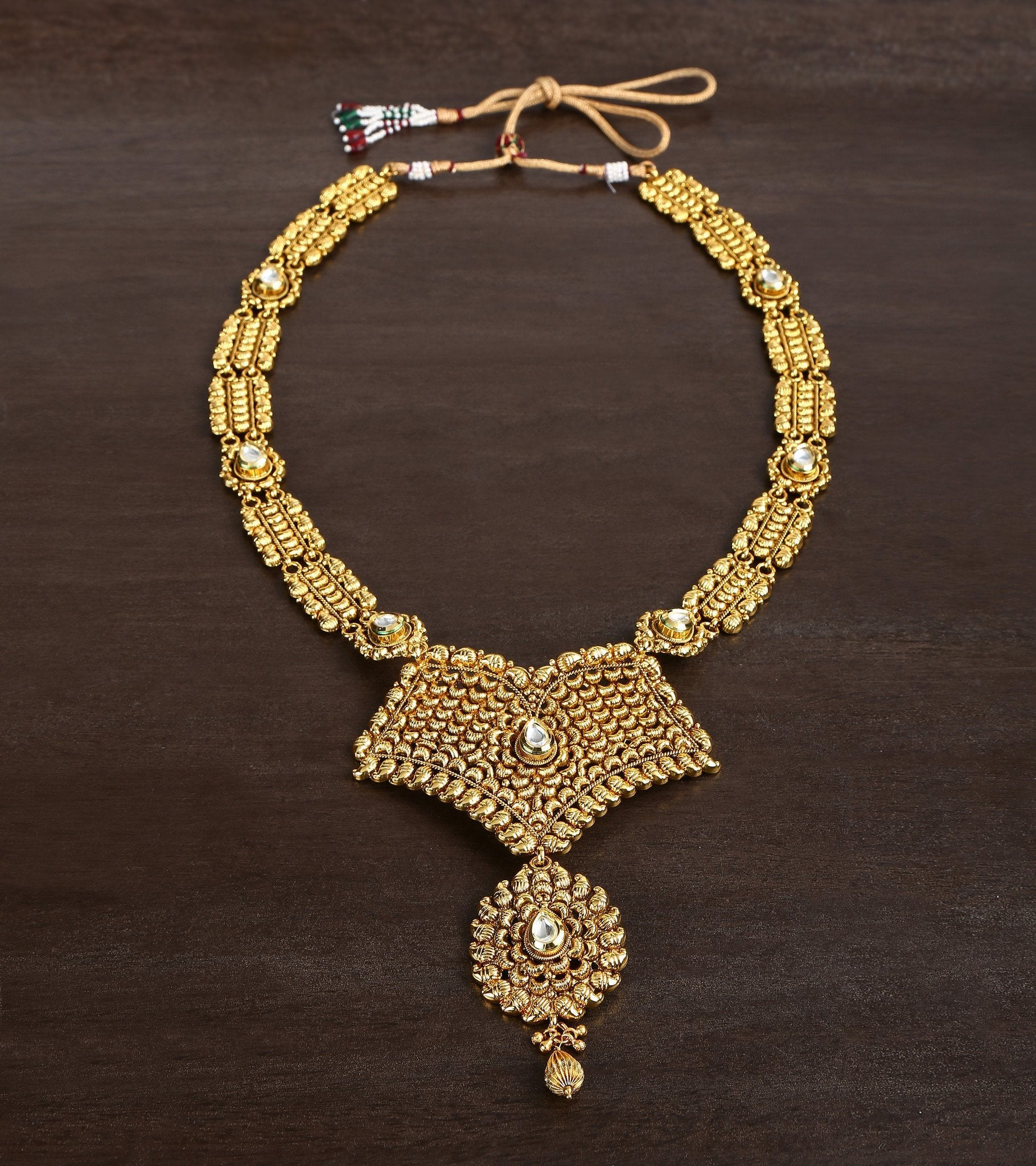 22 Carat Gold Plated Rani Har In Dull Finish With Kundan Setting