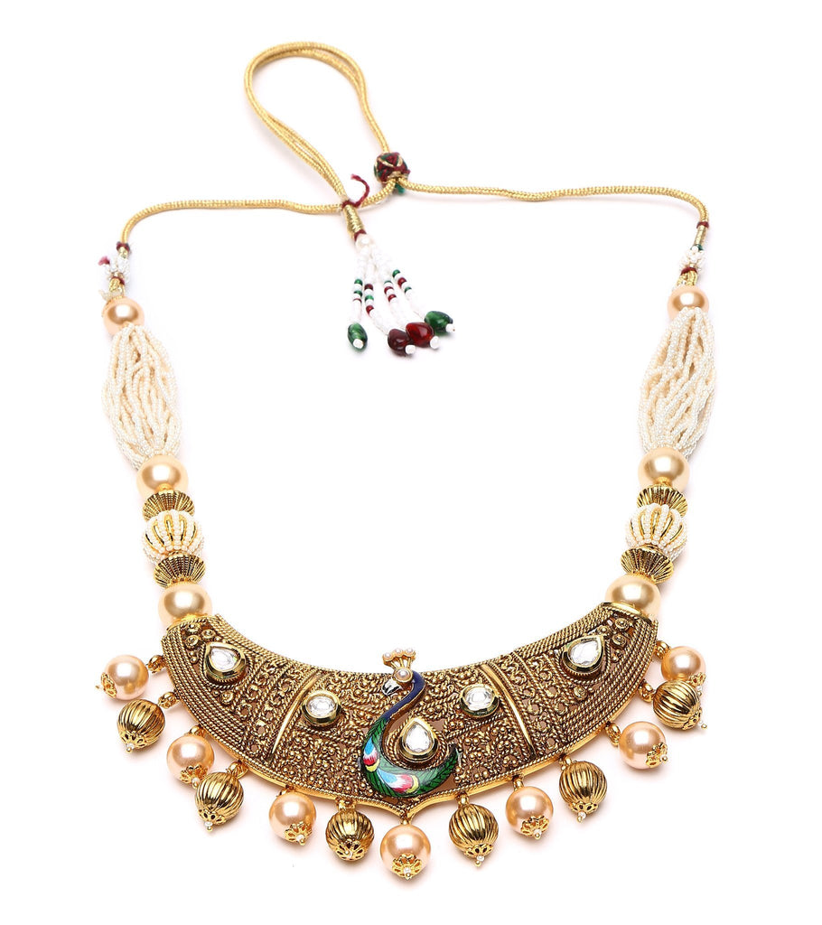 22 Carat Gold Plated Peacock Choker Set In Dull Finish With Kundan Setting