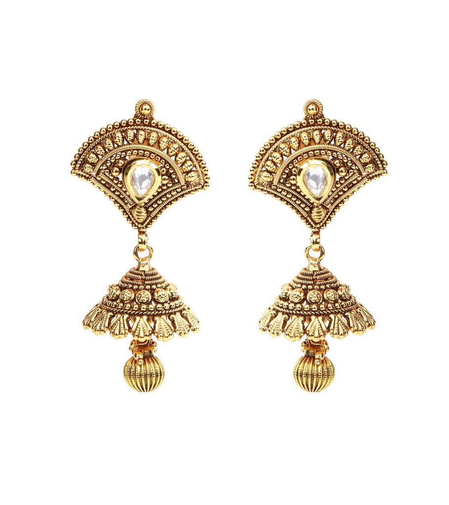 22 Carat Gold Plated Set In Dull Finish With Kundan Setting