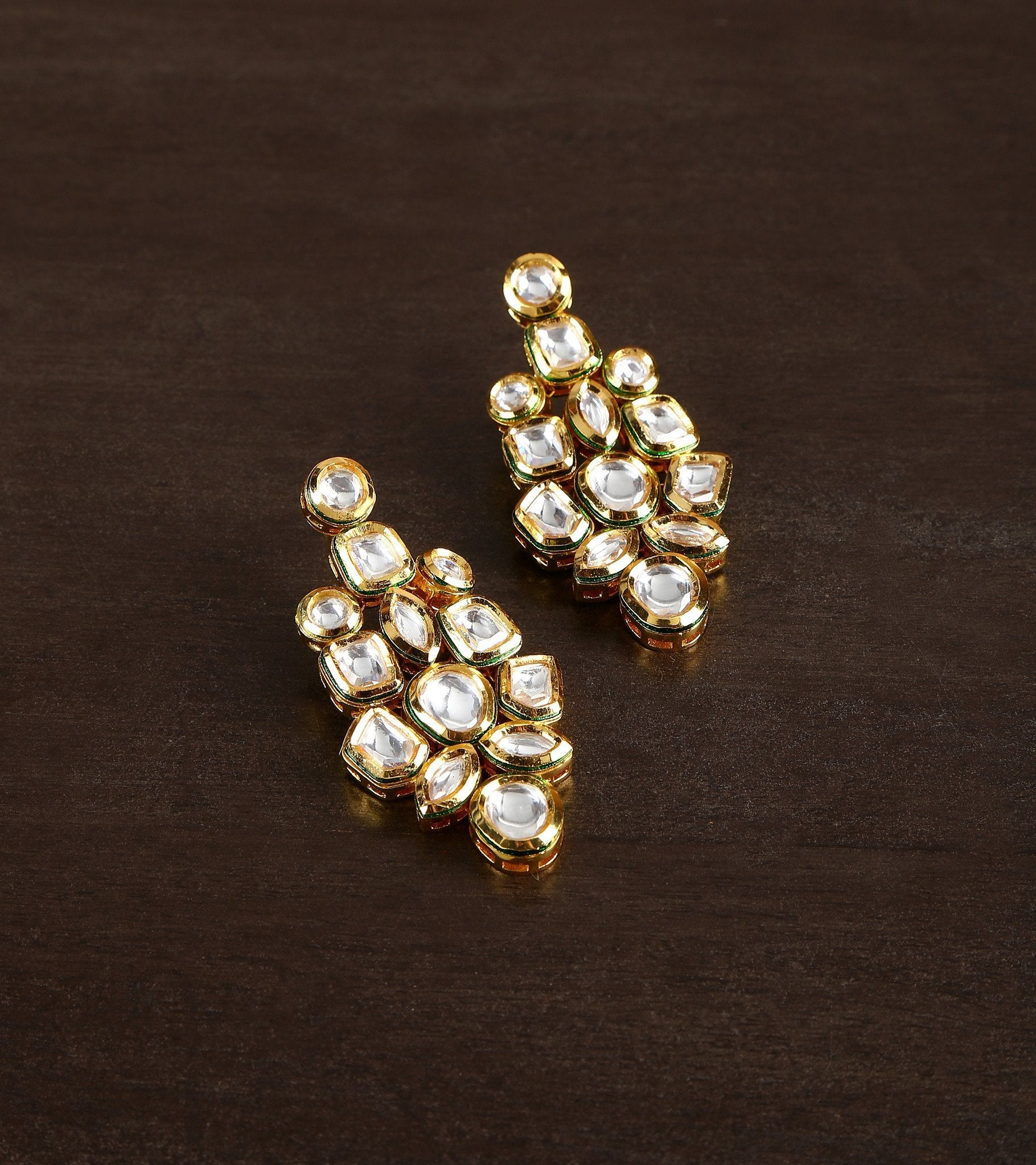 22 Carat Gold Plated Earrings With High Quality Kundan