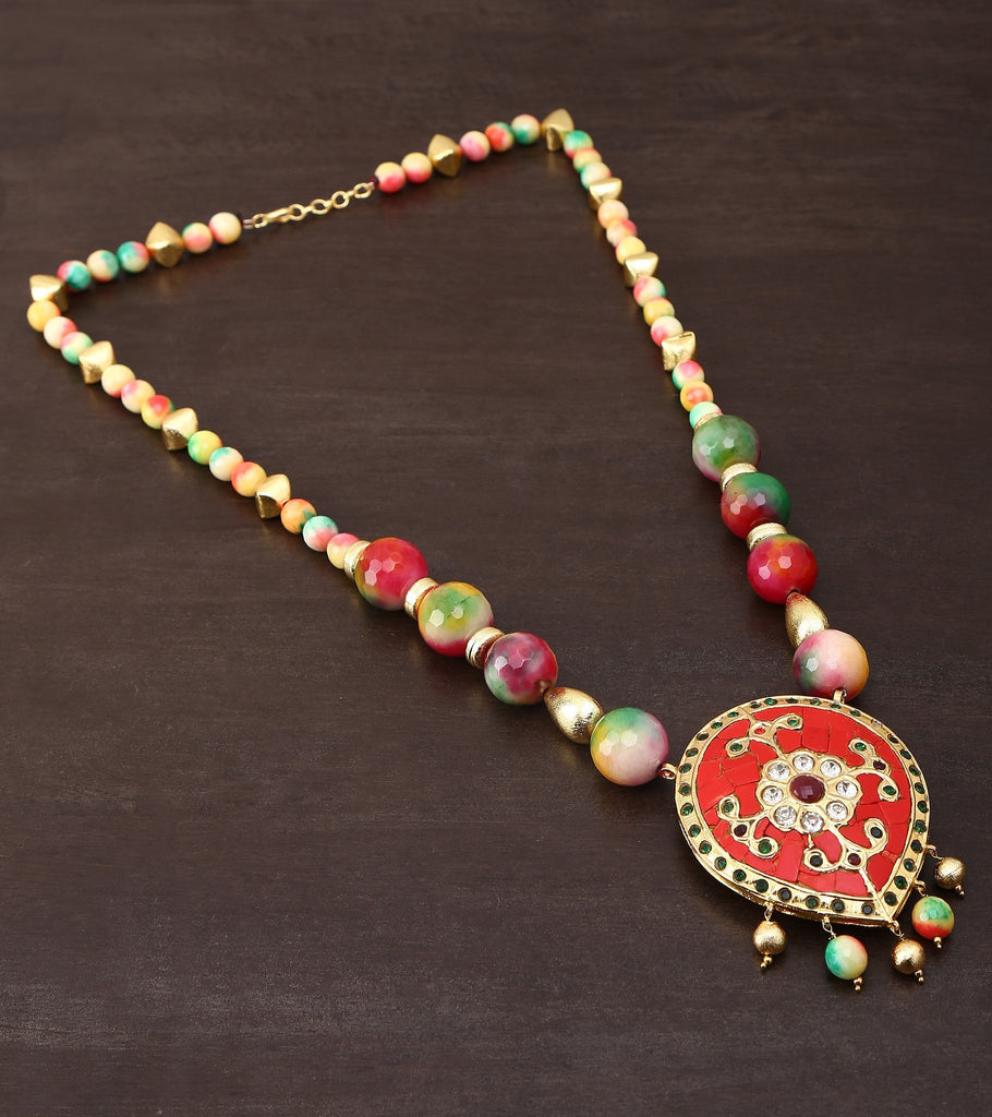 Jadau Pendent Stringed In Multicolored Jade Stone