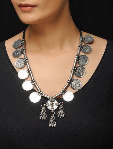 Tribal Oxidised German Silver Coin Necklace
