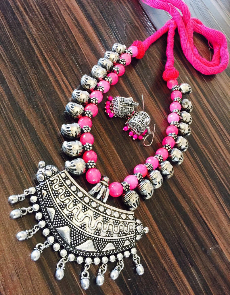 Pink Glass Beaded Necklace with Hook Jhumka