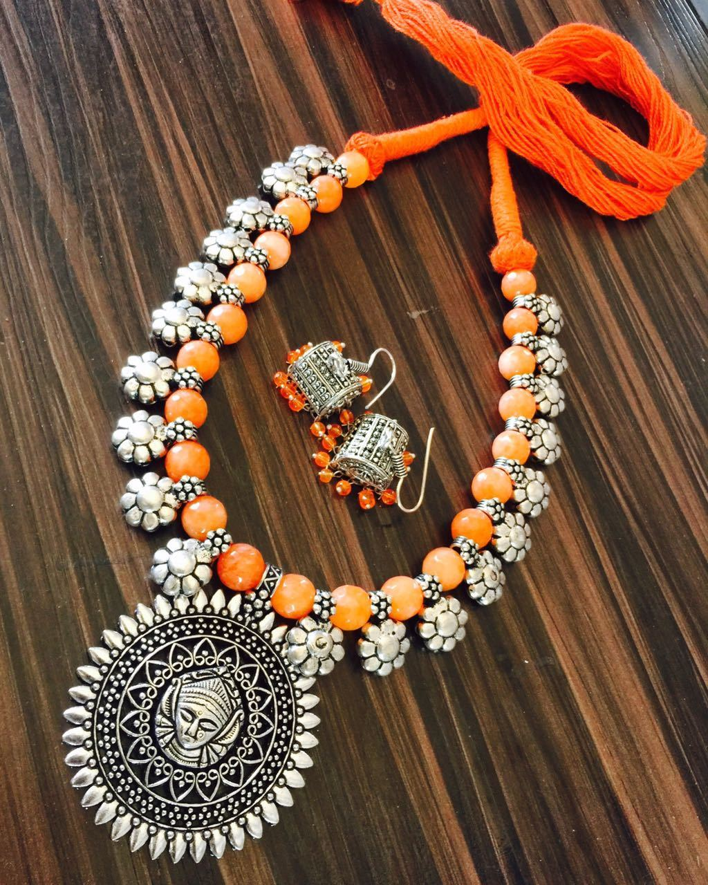 Orange Glass Beaded Necklace with Maa Durga Design Pendant and Hook Earring