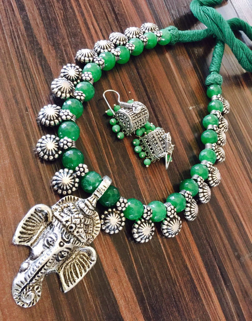 Green Glass Beaded Necklace with Hook Jhumka and Ganapathi Design Pendant