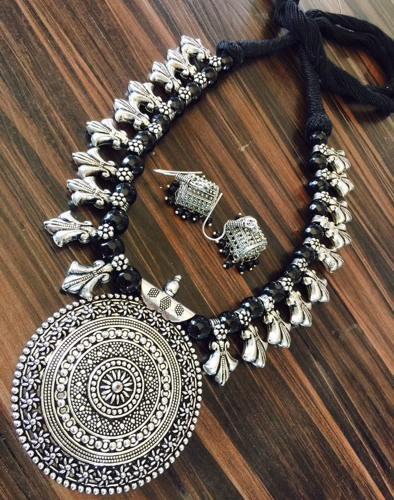 Black Glass Beaded Necklace with Hook Jhumka