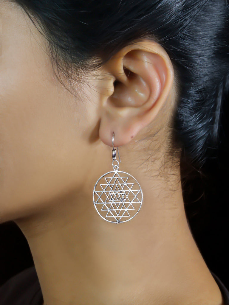 Oxidized German Silver Geometric Design Dangler Earring