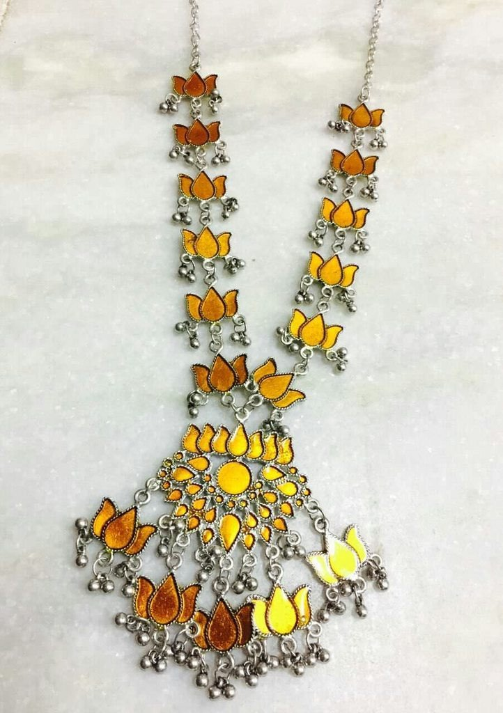 Orange Color Handcrafted Afghani Necklace With Ghungroo Droppings