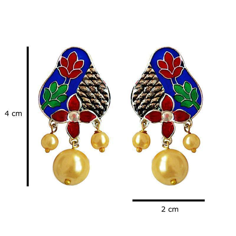 Antique Meenakari Pearl Pendant Earring Set